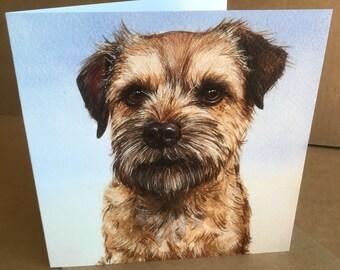 Border Terrier Card, Dog Birthday Card, Border Terrier Greetings Card, Terriers, Small Dogs Birthday Card