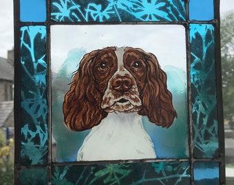 This Springer Spaniel Dog Portrait in Stained Glass. Springer. Sprocker.