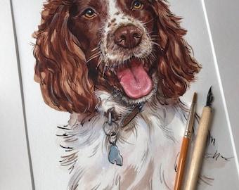 Custom Pet Portraits in Watercolour Personalised Art Painting