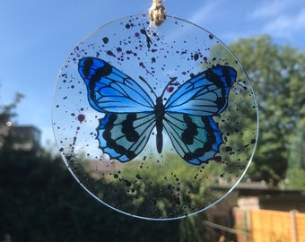 Butterfly Sun Catcher, Hand Painted Butterfly on Glass, Stained Glass Butterfly