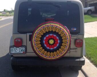 Custom Crochet Spare Tire Cover- Unique Tire Cover~Crochet Jeep-CRV-FJCruiser-RAV4 Cover