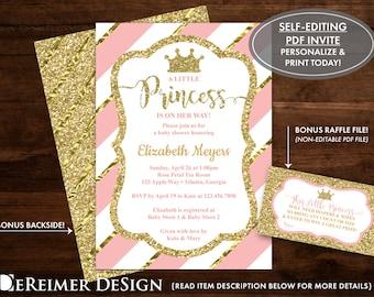 Princess baby shower invitations etsy little princess baby shower invitation princess invitation pink gold glitter self editing pdf invite diy print bonus diaper tickets filmwisefo