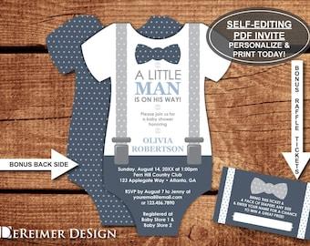 Little man baby shower etsy little man baby shower invitation onesie invitation bow tie suspenders navy blue gray self editing pdf invite bonus diaper tickets filmwisefo