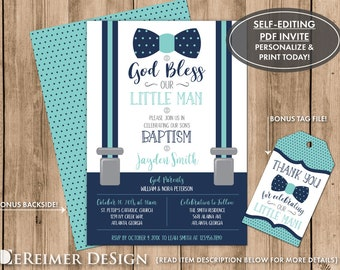 Baptism Invitation Photo Invite Little Man Baby Boy Aqua Etsy