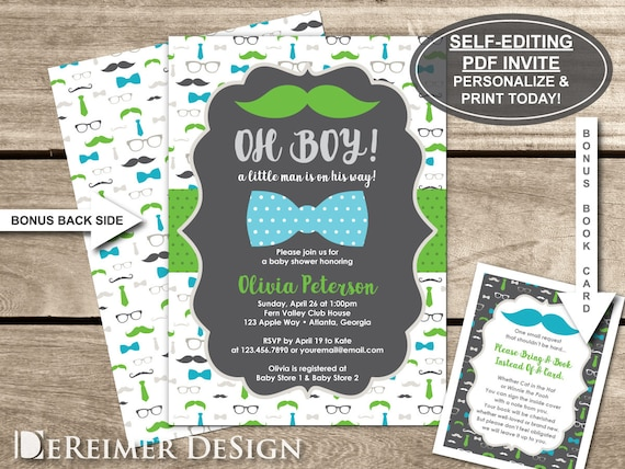 Little man baby shower invitation oh boy mustache bow tie etsy image 0 filmwisefo
