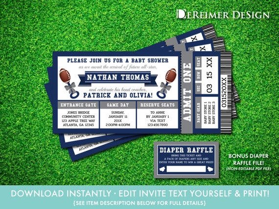 Football Baby Shower Invitation in Blue and Gray, All-Star Baby Shower,  Sports Ticket, Self-Editing PDF Invite, BONUS Diaper Tickets, L02