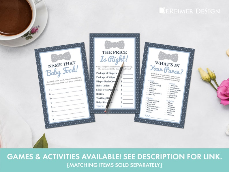 Self-Editing PDF Invite Little Man Baby Shower Invitation in Blue and Gray Thank You /& Diaper Card Game Book Bow Tie C03 Suspenders