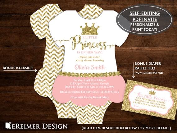Little princess baby shower invitation onesie invitation etsy image 0 filmwisefo