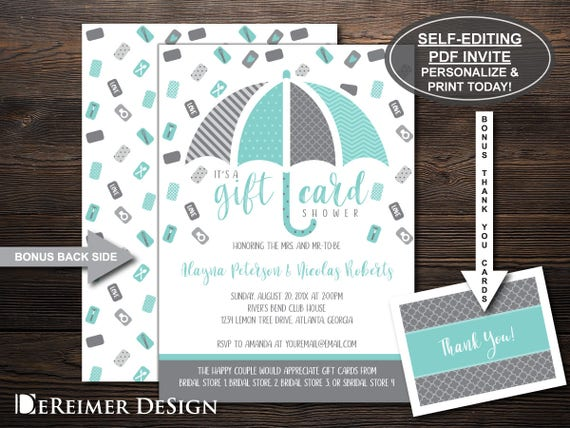 How Much Gift Card For Wedding: Gift Card Shower Invitation Wedding Shower Bridal Shower