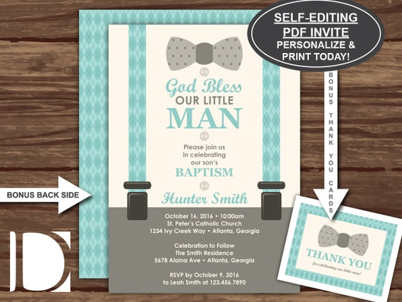 Baptism Invitation Little Man Baby Boy Ivory Teal Aqua Etsy