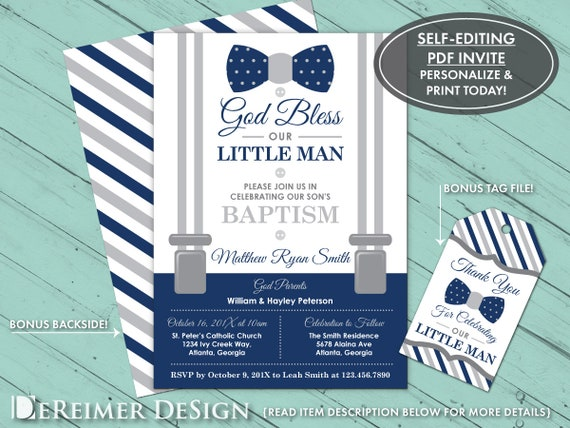 Baptism Invitation Little Man Baby Boy Navy Blue Gray Bow Etsy