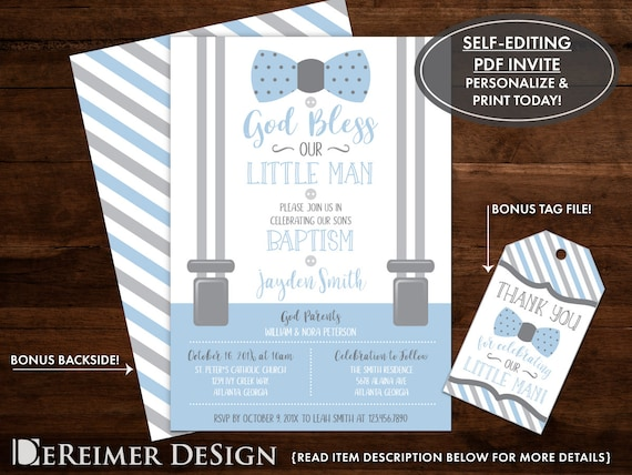 Baptism Invitation Little Man Baby Boy Baby Blue Gray Bow Etsy