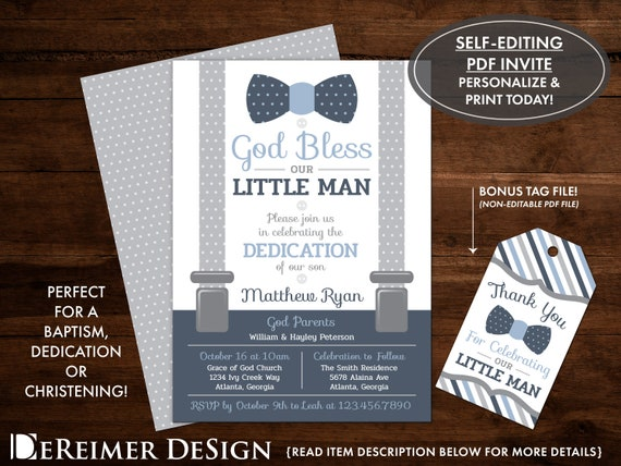 Baby Dedication Invitation In Navy Blue And Gray Baptism Etsy