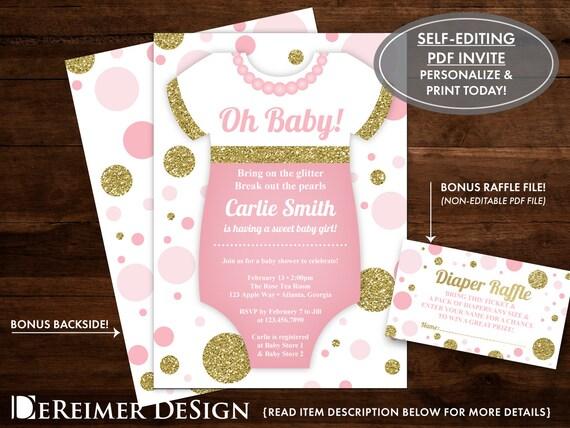 Oh baby shower invitation onesie invitation pearls glitter etsy image 0 filmwisefo