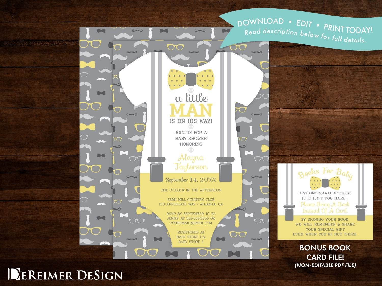 Little Man Baby Shower Invitation In Yellow And Gray Oh Boy Etsy