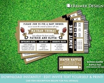 Football Baby Shower Invitation in Black and Gold, All-Star Baby Shower, Sports Ticket, Self-Editing PDF Invite, BONUS Diaper Tickets, L02