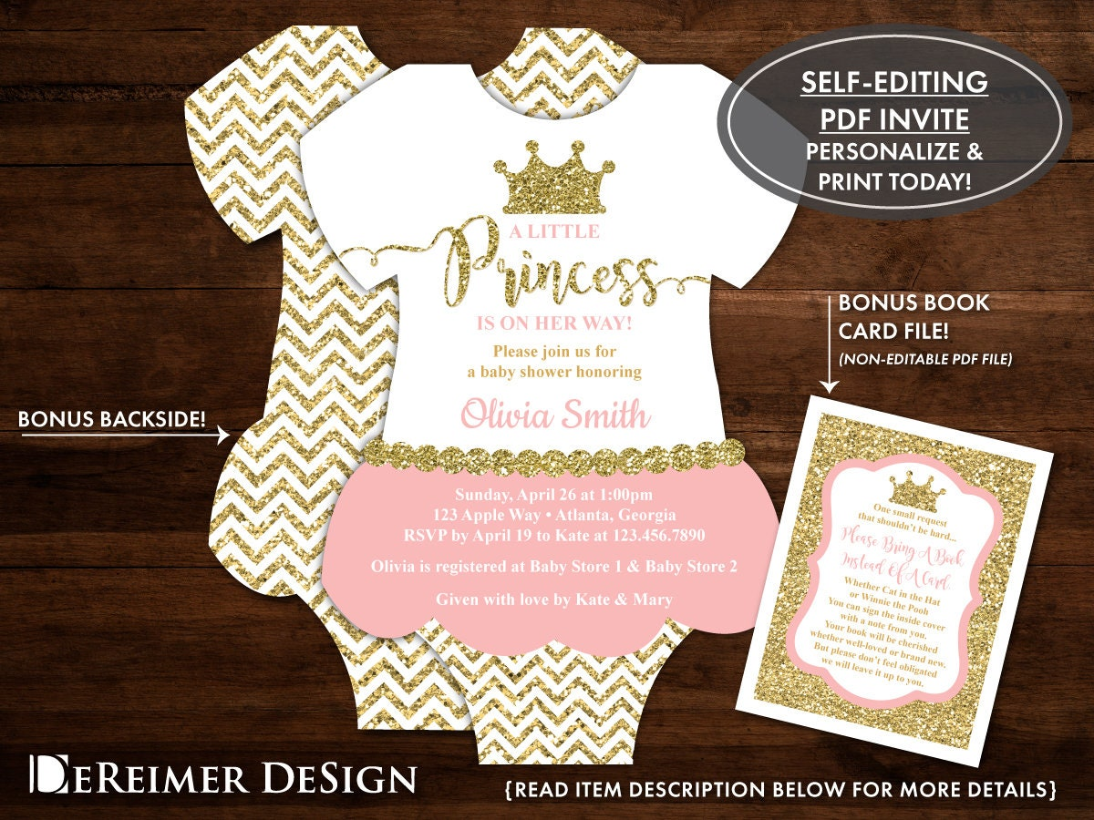 Little Princess Baby Shower Invitation In Pink And Gold Tutu Etsy