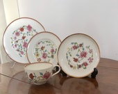 Royal Worcester Astley Pattern, Cup, Saucer, 6 quot 8 quot Side Plates. (Dr. Wall - Reproduced.) Set no. 1.