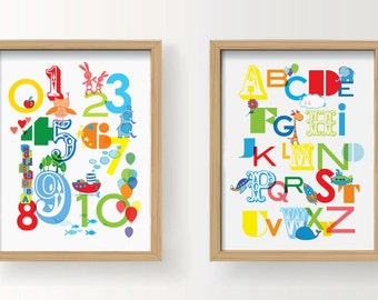 """PRINTABLE Nursery Wall Art - 123 Numbers & Alphabet 8 x10"""" - Prime colours. Instant download"""