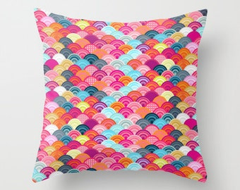 Throw Pillow case / cushion cover for baby room, nursery, playroom. Bright and colourful, scallop pattern..