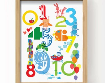 """PRINTABLE Nursery Wall Art - 123 Numbers 8 x10"""" - in Prime colours. INSTANT download"""