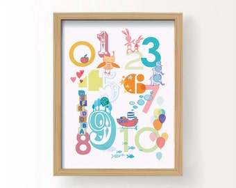 "PRINTABLE Nursery Wall Art - 123 Numbers 8 x10"". Instant download"