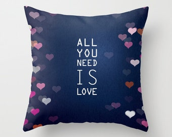 Throw Pillow case / cushion cover for baby room, nursery, playroom - All you need is love.