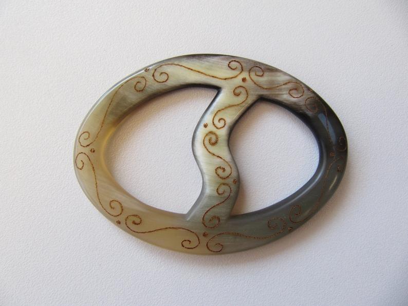 Ox Horn Shawl Ring Shawl Pin Natural Horn Shawl Holder FREE SHIPPING WORLDWIDE Pyrography Shawl Pin Brooch Shawl Bastian Accessories