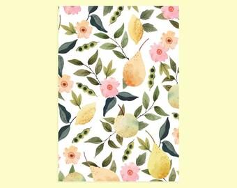 Carnet, cahier, cahier à ligne, A5, motif liberty, rose, fleurs, journal intime, carnet de notes, papeterie, cadeau anniversaire, citron