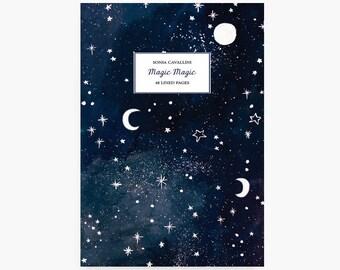 Notebook constellation, A6, cahier, carnet, carnet de note, petit cahier, carnet ligné, lune, cadeau d'anniversaire, papeterie illustrée
