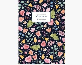 Notebook fleurs, A6 , cahier,carnet, carnet de note, petit cahier, carnet ligné, carnet liberty, cadeau d'anniversaire, papeterie fleurie