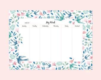 Semainier, hirondelle, planificateur, bloc note, motif liberty, fleurs, petit cadeau, papeterie, 21x29,7cm, bureau,organisation, bureau
