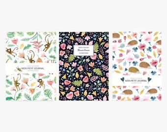 Pack de 3 carnets, A6, journal, petit cahier, carnet de note, fleurs, vintage, hérisson, papeterie, journal intime, cadeau, ginkgo, pastel