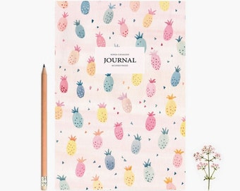 Journal, Pineapple, pastel,  Notebook, diary, spring, floral, A5,stationery, papergoods, diary, notes, little gift, school notebook