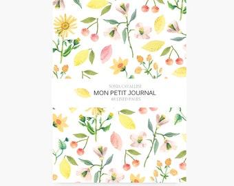 Notebook fleurs, citron, cerise, A6, cahier, carnet, carnet de note, petit cahier, carnet ligné, cadeau d'anniversaire, papeterie fleurie