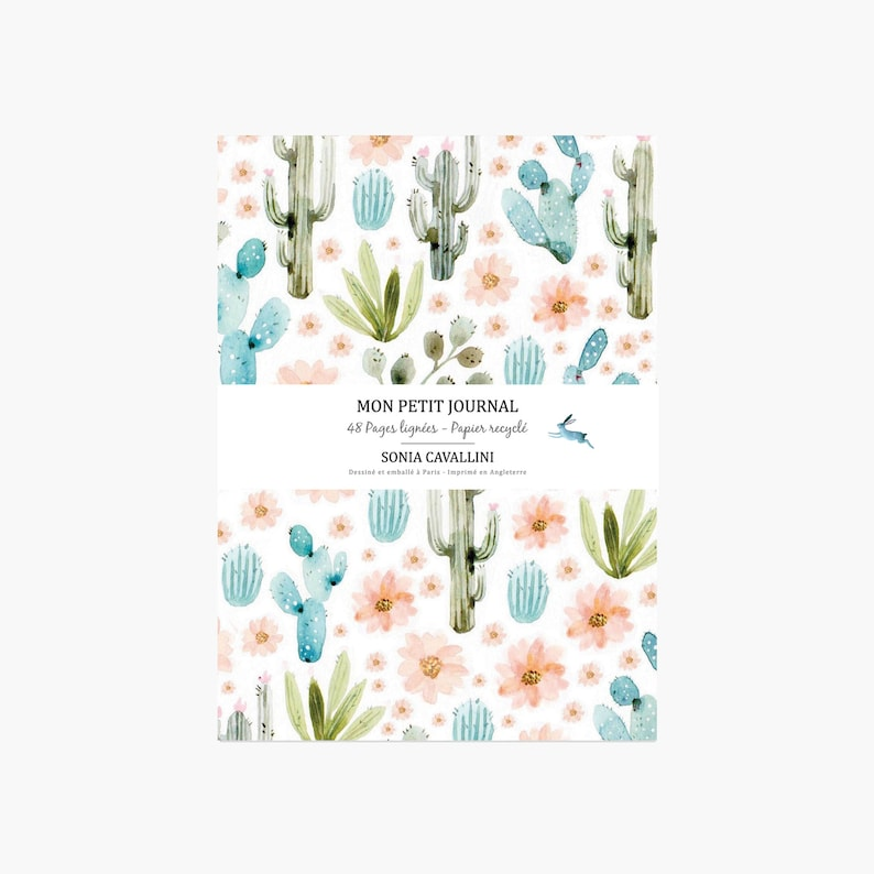 Notebook journal diary cactus flowers spring floral A6 image 0
