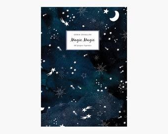 Notebook, journal, diary, gift, stars, moon, magic, constellation,A6, handmade, stationery, carnet,stars pattern, sky, Tagebuch, Notizbuch