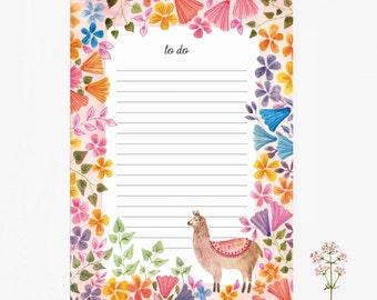 Bloc note lama, bloc note, motif mexicain, fleurs, petit cadeau, papeterie, 10,3x14,8cm, cadeau noël, père noël