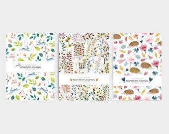 Pack de 3 carnets, A6, journal, petit cahier, carnet de note, fleurs, vintage, renard, papeterie, journal intime, cadeau