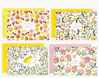 Cartes postales, ensemble de carte, enveloppe, poussin, carte de voeux, fleurs, abeilles, fruits, aloha, papeterie, carte à message, vert