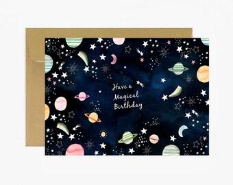 Carte anniversaire, joyeux anniversaire, carte postale, étoile,motif lune, cosmos, planète, carte célébration, livraison gratuite france