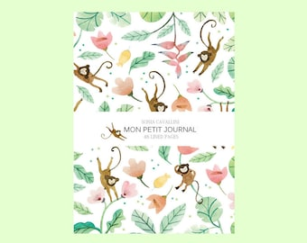 Notebook, cahier, singe, cahier à ligne, A6, exotique, fleurs, feuille monstera, journal intime, carnet notes, papeterie, cadeau, fête meres