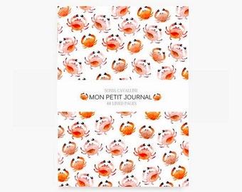 Notebook crabes, A6, cahier, carnet, carnet de note, petit cahier, carnet ligné, carnet de vacances, cadeau d'anniversaire, papeterie