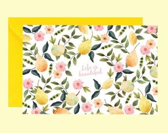 Carte la vie est belle, vœux, anniversaire, carte postale, floral, citron, carte célébration, livraison gratuite, carte à message, Postkarte