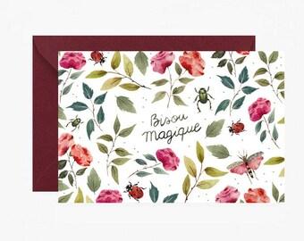Carte de vœux, carte message, bisou, saint valentin, amour, carte postale, enveloppe, je t'aime, papeterie, livraison gratuite france