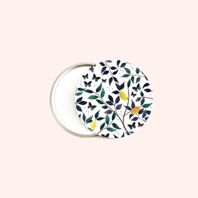Pocket mirror flowers watercolor round mirror lemon image 0