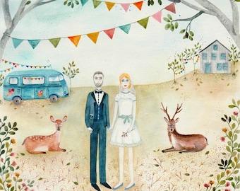 Custom, couple portrait, holiday gift, wedding, cadeau anniversaire, personalised, lover, weeding invitation, ritratto personalizzato