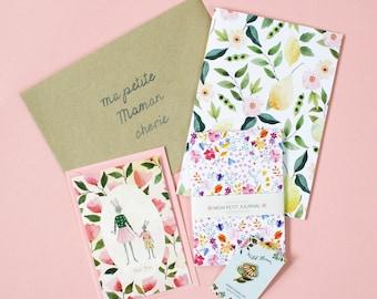 Box fête des mères, cadeau maman, notebook, set, cahier, carnet, carte, petit cahier, pins, carnet liberty, papeterie fleurie, journal, mère