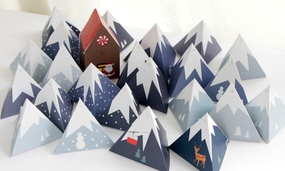 adventskalender zum drucken berglandschaft mit lebkuchenhaus etsy. Black Bedroom Furniture Sets. Home Design Ideas