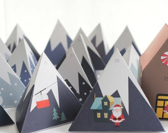Advent Calendar - Mountain Range - Countdown to Christmas – Printable PDF File - A4